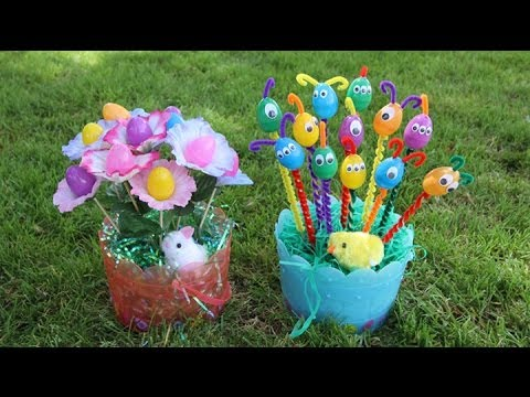 DIY Easter Baskets: Egg Flower Bouquet and Egg Aliens || Lucykiins