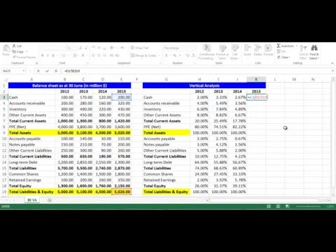 Vertical Analysis for Balance Sheet Items using Excel
