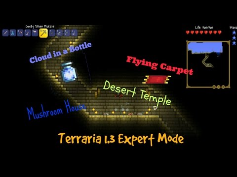 Terraria 1.3 Expert Mode Ep 2: Flying Carpet, and a Cloud in a bottle!