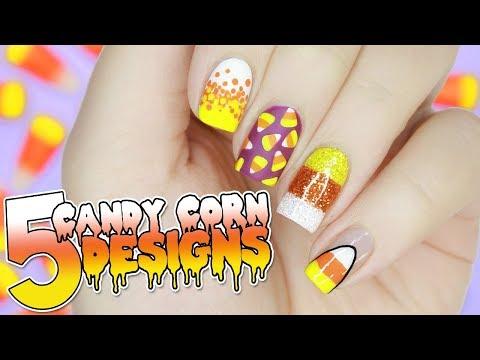 5 EASY Candy Corn Nail Designs for HALLOWEEN | Halloween Nail Art Tutorial