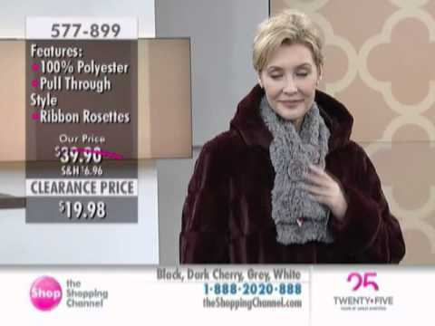 Regal Faux Furs Textured Faux Fur Scarf with Ribbon Rosettes at The Shopping Channel 577899