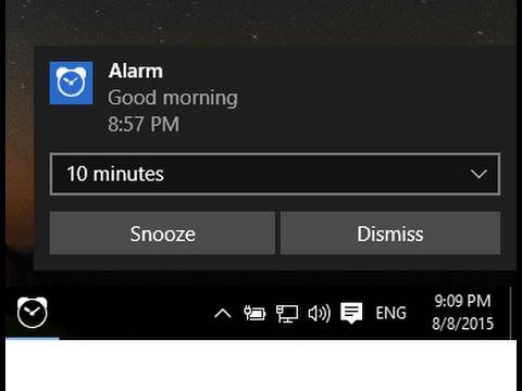 How to setup default alarm in Windows 10