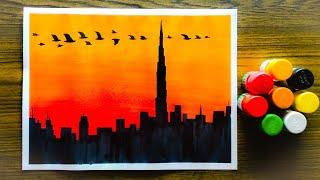 city sunset landscape easy poster colour painting