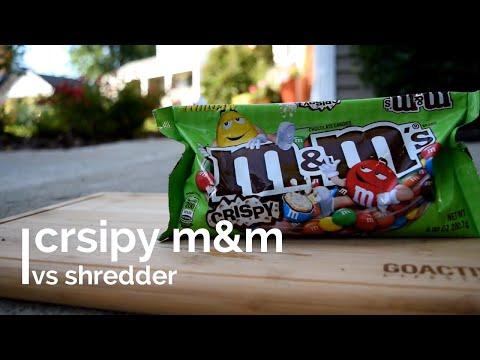 M&Ms vs SHREDDER in slow motion - CRISPY & TASTY