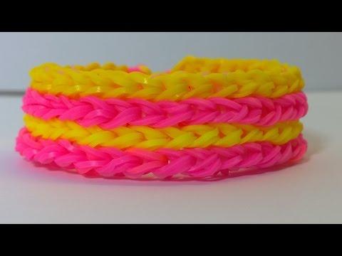 Rainbow Loom Four Row Bracelet with Two Forks-loom bands four row armband No Loom