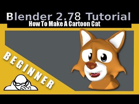 How To Make A Cartoon Cat Head In Blender 2.78 c