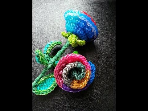 Rainbow loom Rainbow Rose Tutorial Part 1