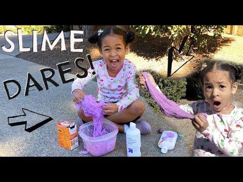 SLIME DARES!!!!! *Making SLIME in public*