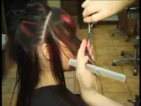 How to cut a Fringe,  hair cut with long and short layer's, Shaped sides and point cut
