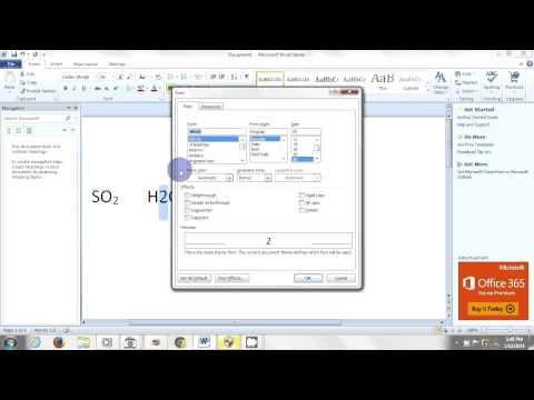 Creating Subscripts in Microsoft Word
