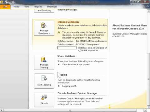 Outlook 2010 Understand Business Contact Manager Database Access Management