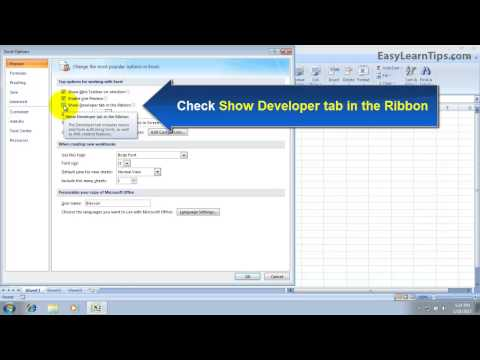 How to show Developer Tab in MS Excel 2007