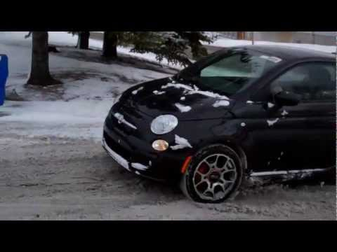 Driving a FIAT 500 in the snow