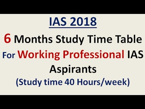 IAS 2018 =6 Months Study Time Table For Working Professional Aspirants