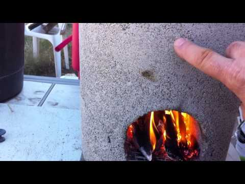 Home made rocket stove, vermiculite and cement Part 5