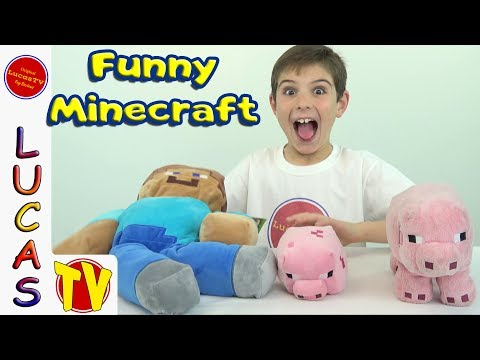 Funniest Minecraft Video! Steve and Minecraft Pigs Plush Toys Songs and Sound Effects and Toy Review