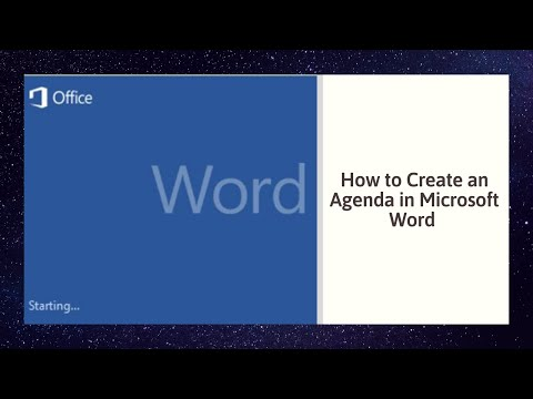 How to Create an Agenda in Microsoft Word 2010