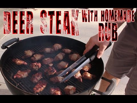 Grilling Venison Backstrap Steaks with a Homemade Rub and Bacon Recipe