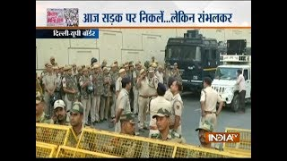 Heavy security deployed at Delhi-UP border in wake of 'Kisan Kranti Padyatra' in Delhi today