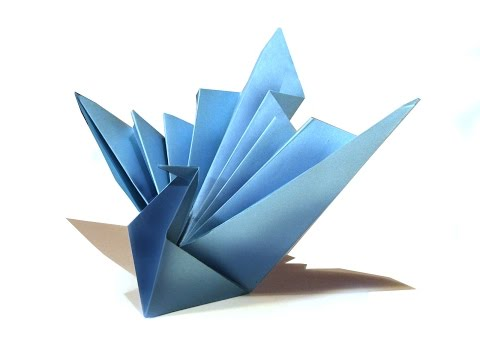 Easy Origami Bird - Origami Tutorial - How to make an easy origami peacock