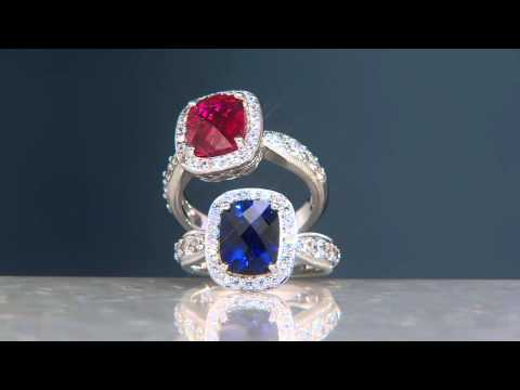 Epiphany Emerald Cut Simulated Ruby or Sapphire Ring on QVC
