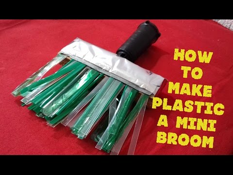 How to make a mini broom with plastic bottles