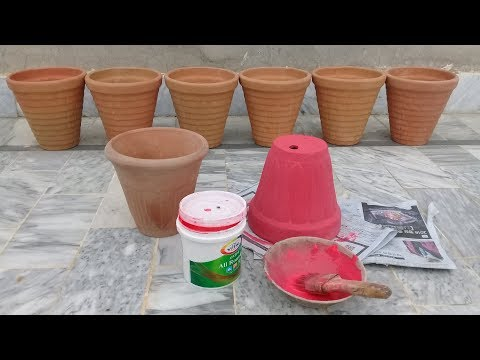 How to paint old and new pots (gamla) | Clay pots painting tricks & techniques | Terracotta pots