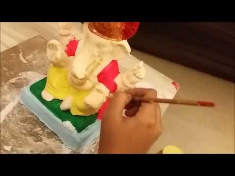 Eco Friendly Ganpati Making from paper mache - 2 | Eco Friendly Ganpati Murti colouring at home
