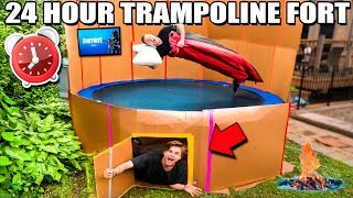 24 Hour TRAMPOLINE BOX FORT Challenge! 📦 Fortnite, Beyblade & More!