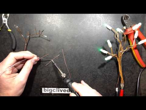 Experimental wire-form LED tree.