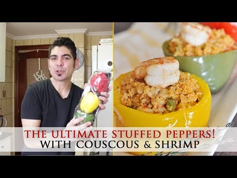 Stuffed Bell Peppers with Couscous & Shrimp - Healthy Recipe