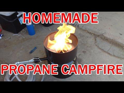 Make your own Propane campfire cheap! DIY homemade LP Gas fire pit barrell
