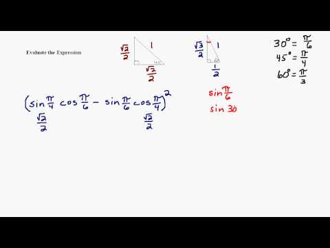 Evaluate Expression Involving Sine and Cosine of Special Triangles