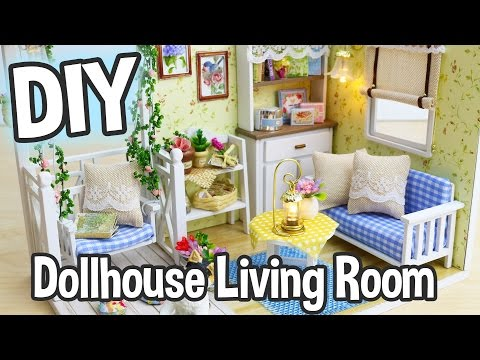 DIY Miniature Dollhouse Kit Cute Living Room Roombox with Working Lights! / Relaxing Crafts