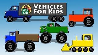 Vehicles For Kids - Trucks Tractors Cars Bulldozers Bus