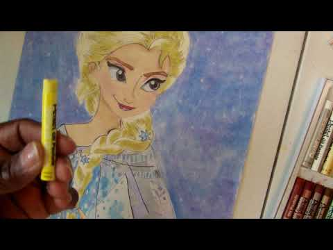 COLORING ELSA FROM FROZEN USING OIL PASTELS CRAYONS/FLIP THROUGH OF THE COLORIST COLORING BOOK