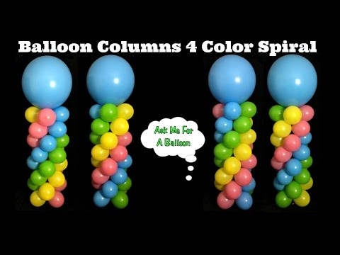 Balloon Columns 4 Color Spiral - Balloon Decoration Tutorial