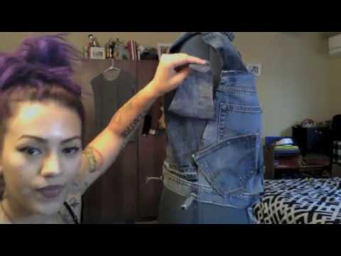 DIY denim jacket using men's denim jeans, part 2