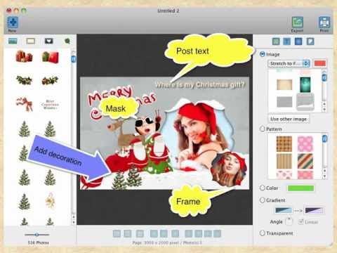 How to Make Greeting Cards and Photo Collages - Christmas Card, Birthday Card, New Year Card