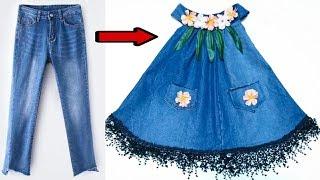 #x202b;فستان طفله أنيق من بنطلون جينز قديم#x202c;lrm;
