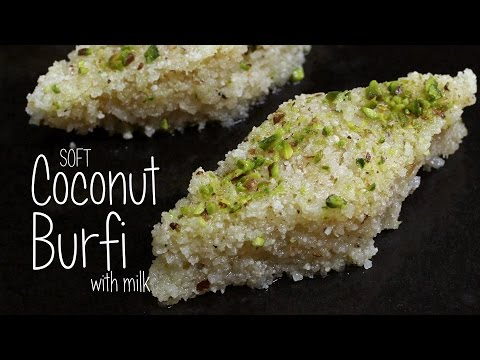 Soft Coconut Burfi with milk  |  Home Cooking
