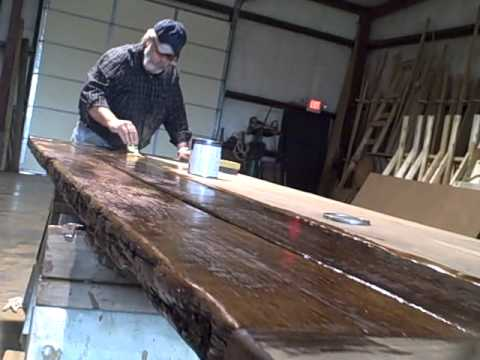 Finishing up a reclaimed oak tabletop- Tennessee Wood Flooring