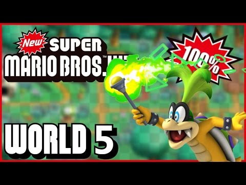 New Super Mario Bros Wii - World 5 (Jungle) 100% multiplayer walkthrough