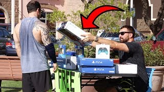 Setting Up A Free Game Store In front of Gamestop..