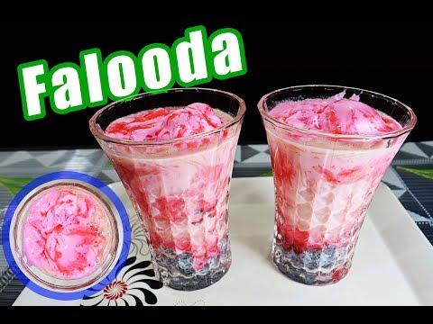 Falooda | Faluda with Strawberry Ice-cream | Homemade falooda | Faluda recipe in Hindi