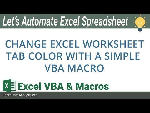 How to change sheet tab color with Excel VBA | Excel VBA Tutorial