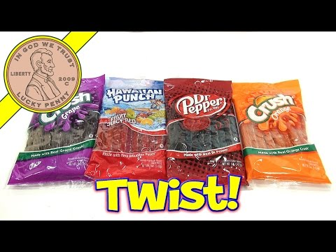 Dr Pepper, Hawaiian Punch, Orange & Grape Crush Licorice Candy Twists