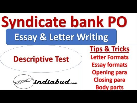 Letter & Essay (Descriptive) Writing for Any banking Exams l Tips & Tricks l  syndicate Bank l