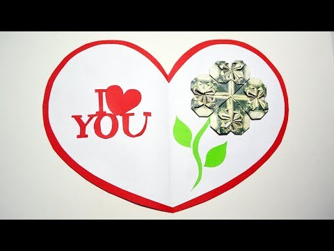 Gift for Valentine's day Holiday Card Money Heart Origami Dollar Tutorial DIY