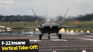 F-22 Raptor fighter jet pilot performs insane vertical take-off
